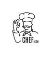 chef line icon for menu restaurant catering vector image