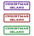 christmas island watermark stamp vector image