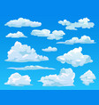 clouds in sky fluffy cloudy cartoon background vector image