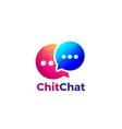 colorful gradient double bubble chat logo design vector image vector image