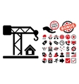 Construction Crane Flat Icon with Bonus vector image