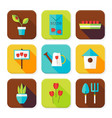 Flat Gardening and Flowers Squared App Icons Set vector image vector image