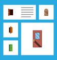 flat icon door set of approach frame door and vector image vector image