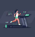 flat silhouette young woman running on treadmill vector image