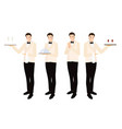 formal luxury dinner waiter collection flat style vector image