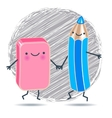 Funny pencil and eraser against the background of vector image vector image