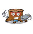 gamer tree stump mascot cartoon vector image vector image