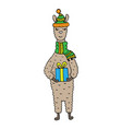 hand-drawn funny lama with a christmas gift vector image vector image