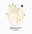 hand with natural manicure logo label badge vector image