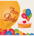happy birthday cake colored balloons celebration vector image vector image