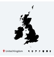 high detailed map united kingdom vector image