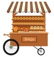 isolated wooden bakery stall vector image