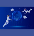 isometric global network planet earth astronauts vector image vector image