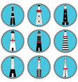 Lighthouses icons in knottet circle and blue vector image