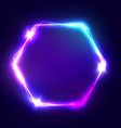 Neon sign Hexagon glowing light banner vector image vector image
