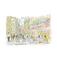 old european street with cafe and restaurants vector image vector image