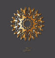 ornamental golden flower mandala on grey color vector image vector image