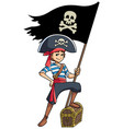 pirate boy holding flag vector image vector image