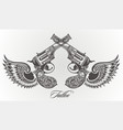 pistol tattoo card vector image