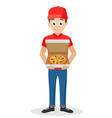 pizza delivery by courier on a white background vector image