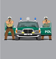 Police car and policemen officer vector image vector image