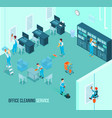 Professional office cleaning service isometric vector image