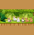 rabbit in jungle scene vector image vector image