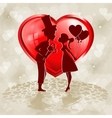 Red heart silhouettes of two lovers vector image vector image