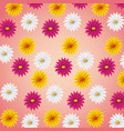 seamless pattern pink yellow and white daisies vector image