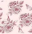 seamless pattern with hand drawn roses vector image vector image