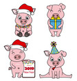 set cartoon pigs celebrating chinese new year vector image