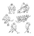 set hockey player and goalkeeper in sports vector image vector image