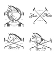 set vintage horse polo club labels and badges vector image vector image