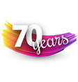 seventy years greeting card with colorful brush vector image