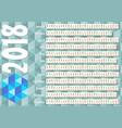 Simple horizontal calendar in unusual design vector image