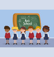 students boys and girls with uniform and vector image