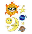Sun moon stars and planets vector image