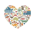 Symbols Of Australia in the shape of a heart vector image vector image