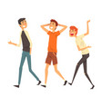 three male friends having a good time together vector image vector image