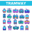 tramway urban transport thin line icons set vector image