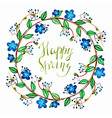 Watercolor cute wreath with blue romantic flowers vector image