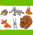 wild animal cartoon characters set vector image vector image