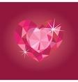 Ruby heart on red backrgound vector image
