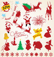 Christmas silhouettes icons pack vector image