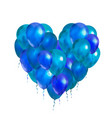 a lot of blue balloons in heart shape on white vector image vector image