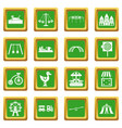 Amusement park icons set green