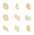 aperture icons set isometric style vector image vector image