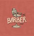barbershop badge label logo armchair emblem vector image vector image