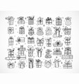 big set doodle christmas gift boxes on white vector image vector image