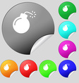 bomb icon sign Set of eight multi colored round vector image vector image